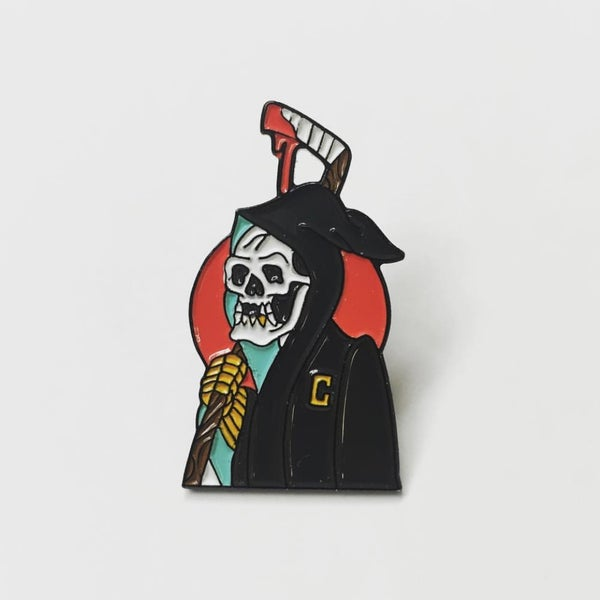 "Image of ""Captain Death"" enamel pin 1.5inch"