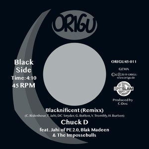 "Image of PRE-ORDER 7"" CHUCK D FEATURING JAHI OF PE2.0 - freedBLACK (7"" EDIT) B/W BLACKNIFICENT REMIXX"