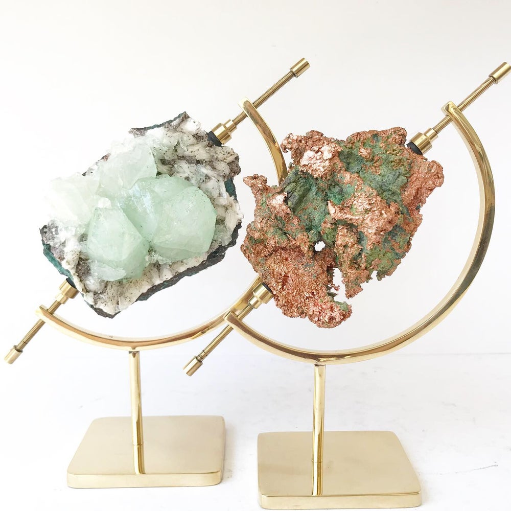 Image of Green Apophyllite no.17 Scarab Collection Brass Arc Pairing