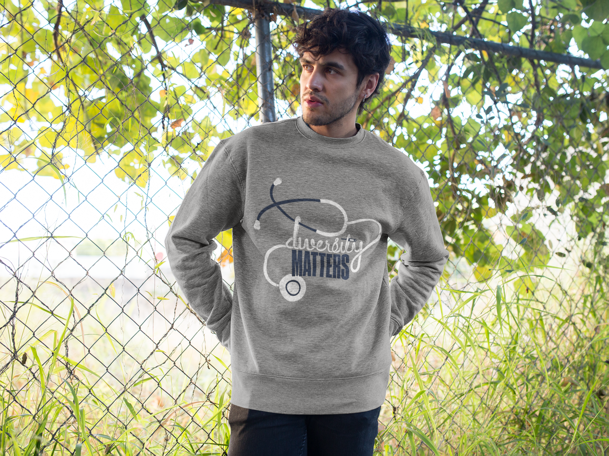 Image of Grey Sweatshirt-White/Navy