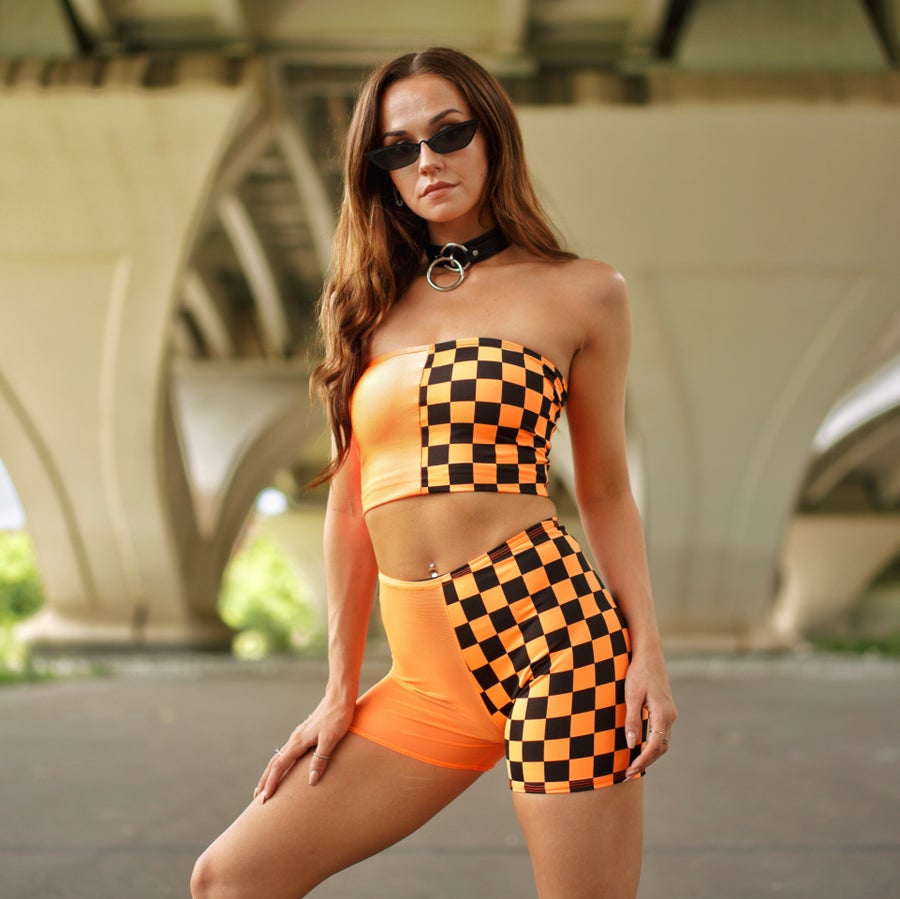 Image of Orange Checkered & Mesh Biker Shorts