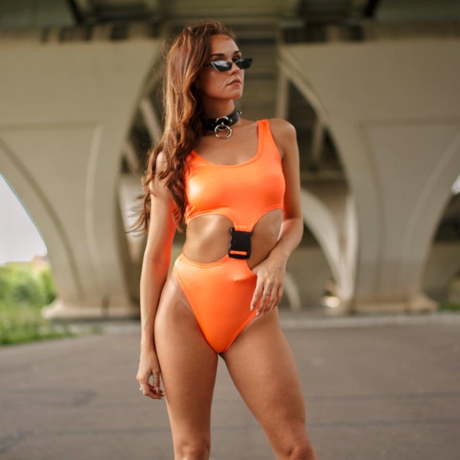 Image of Neon Orange Buckle Bodysuit