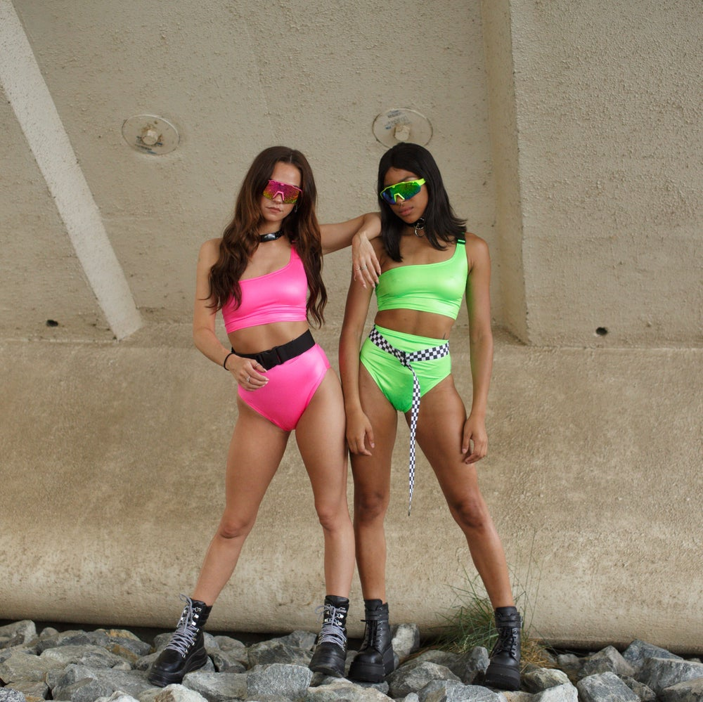 Image of Neon Green Buckle One Strap Top