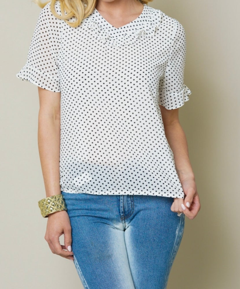Image of Polka dot ruffle shirt