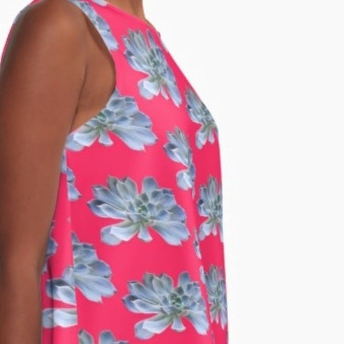 Image of #succulovers A-line Dress Echeveria Blue and Hot Pink