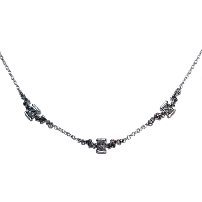 Image of Tempus Vincit Omnia necklace in oxidized sterling silver