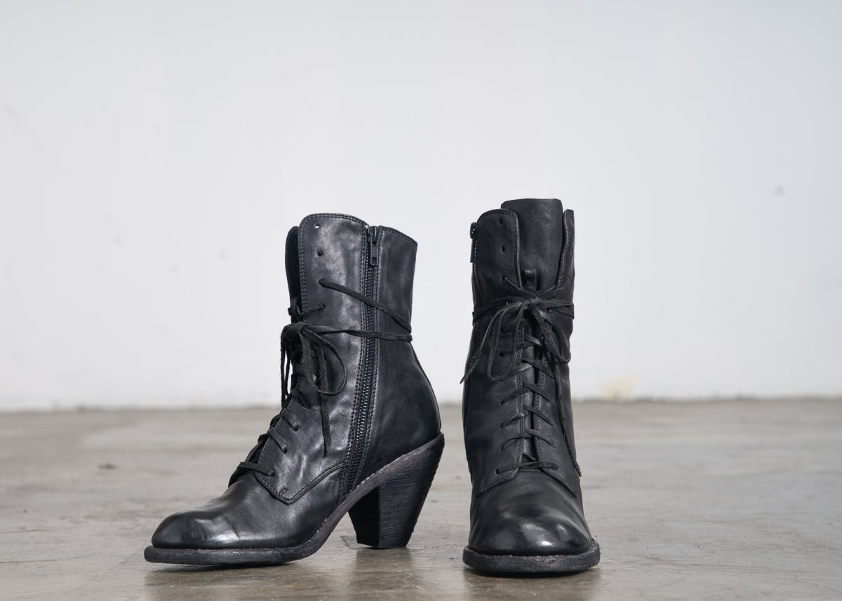 Image of Handcrafted Lace Up Leather High Heel Ankle Boots