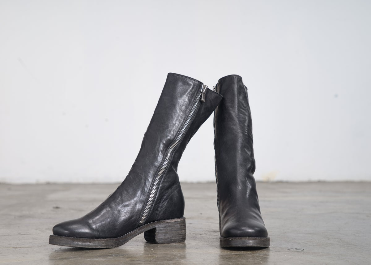 Image of Handcrafted Leather Mid-Calf  Boots