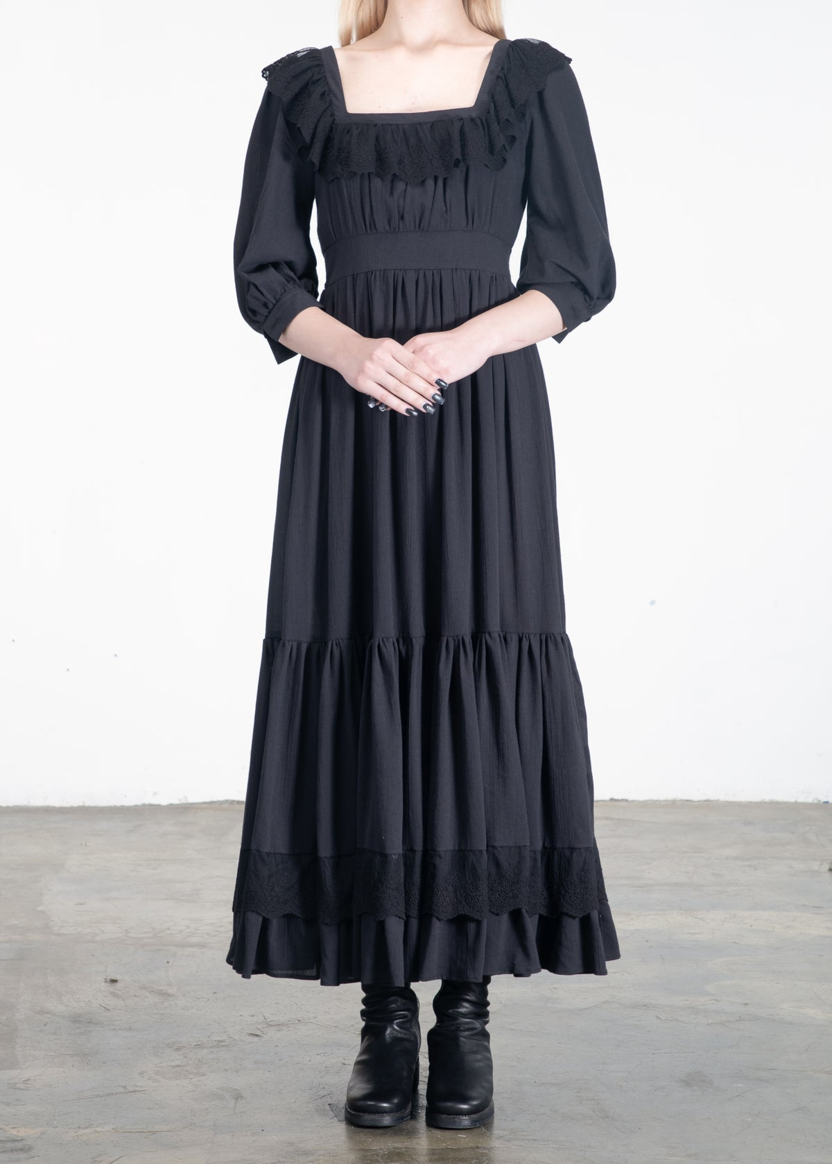 Image of Isabelle Lace Ribbon Neckline Long Dress Black