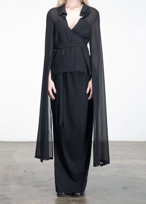 Image of Lace Up Sheer Top With Overlong Sleeves Black