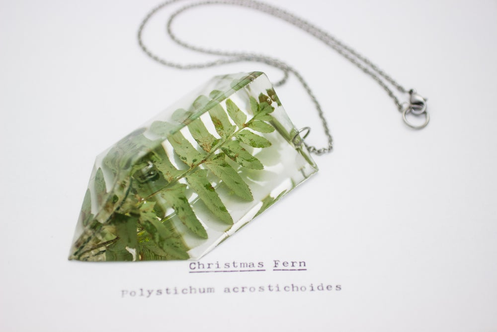 Image of Christmas Fern (Polystichum acrostichoides) - Chunky Statement Pendant #1