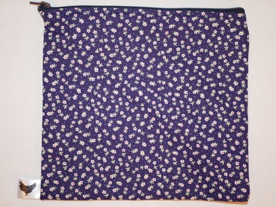 Image of Tiny flowers on blue (new large pouch)