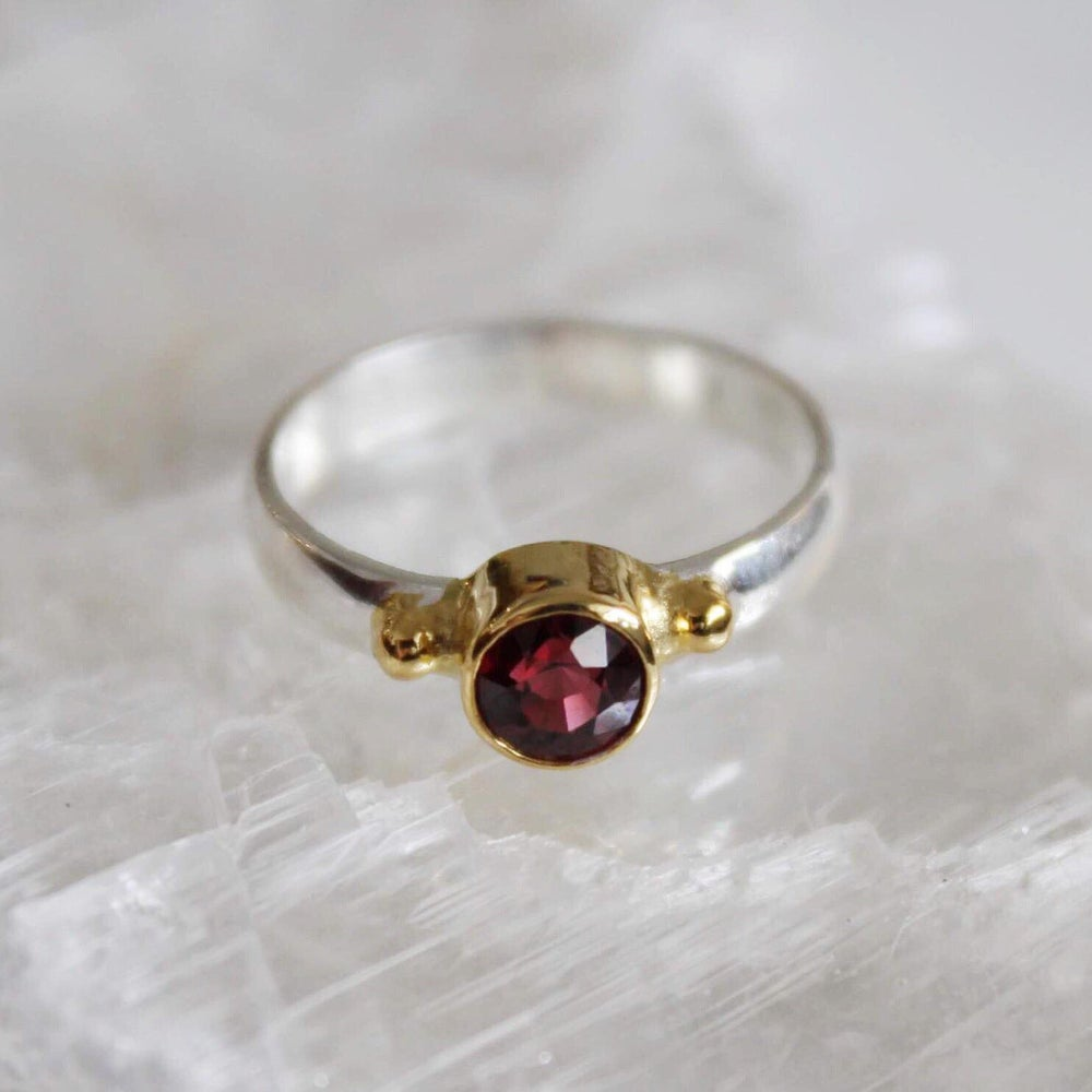 Image of Red Garnet 18k gold plated silver ring