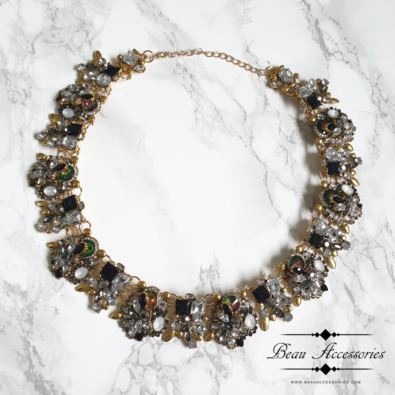 Image of Black Velencia Statement Necklace