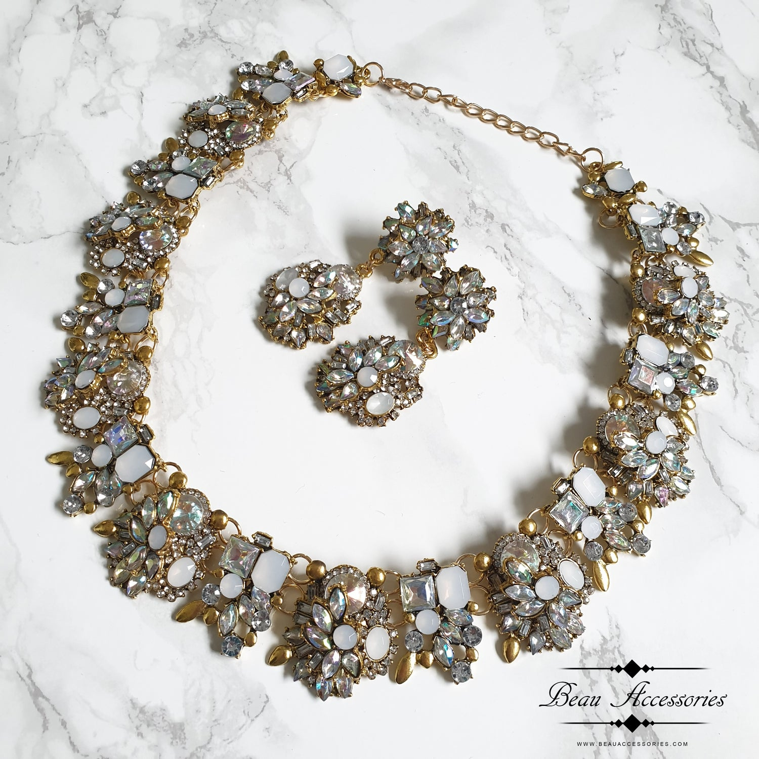 Image of White Velencia Statement Necklace & Earrings Set