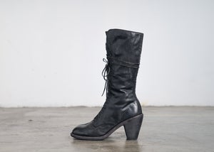 Image of Handcrafted Lace up Leather High Heel Mid-Calf Boots