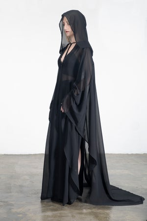 Image of  Black Long Gown With Hooded