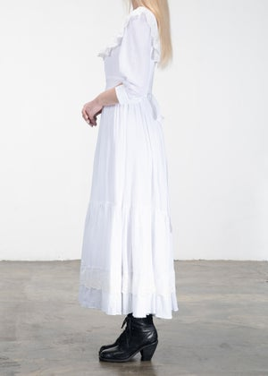 Image of Isabelle Lace Ribbon Neckline Long Dress White