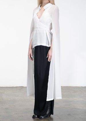 Image of Lace Up Sheer Top With Overlong Sleeves White