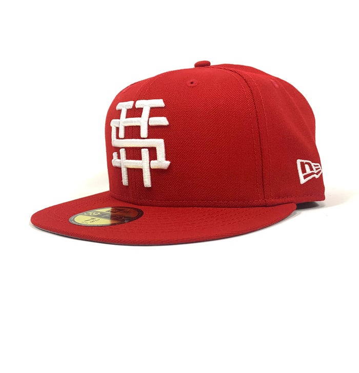 "Image of 2520 X NEW ERA MONOGRAM LOGO ""T5T"" 59FIFTY FITTED - SCARLET"