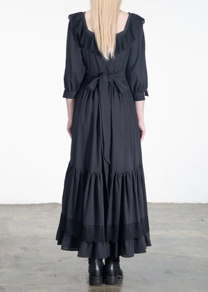 Image of Isabelle Lace Ribbon Neckline Long Dress Black
