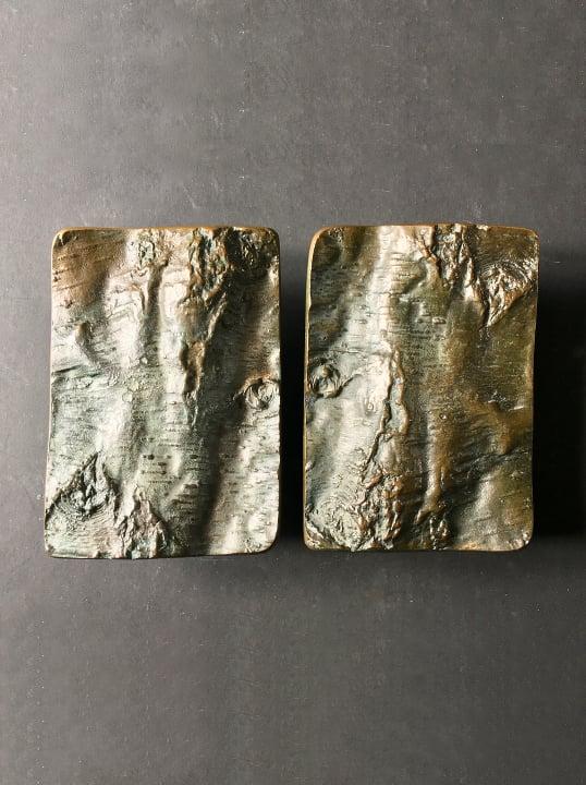 Image of Brutalist Bronze Door Handles with Tree Bark Design