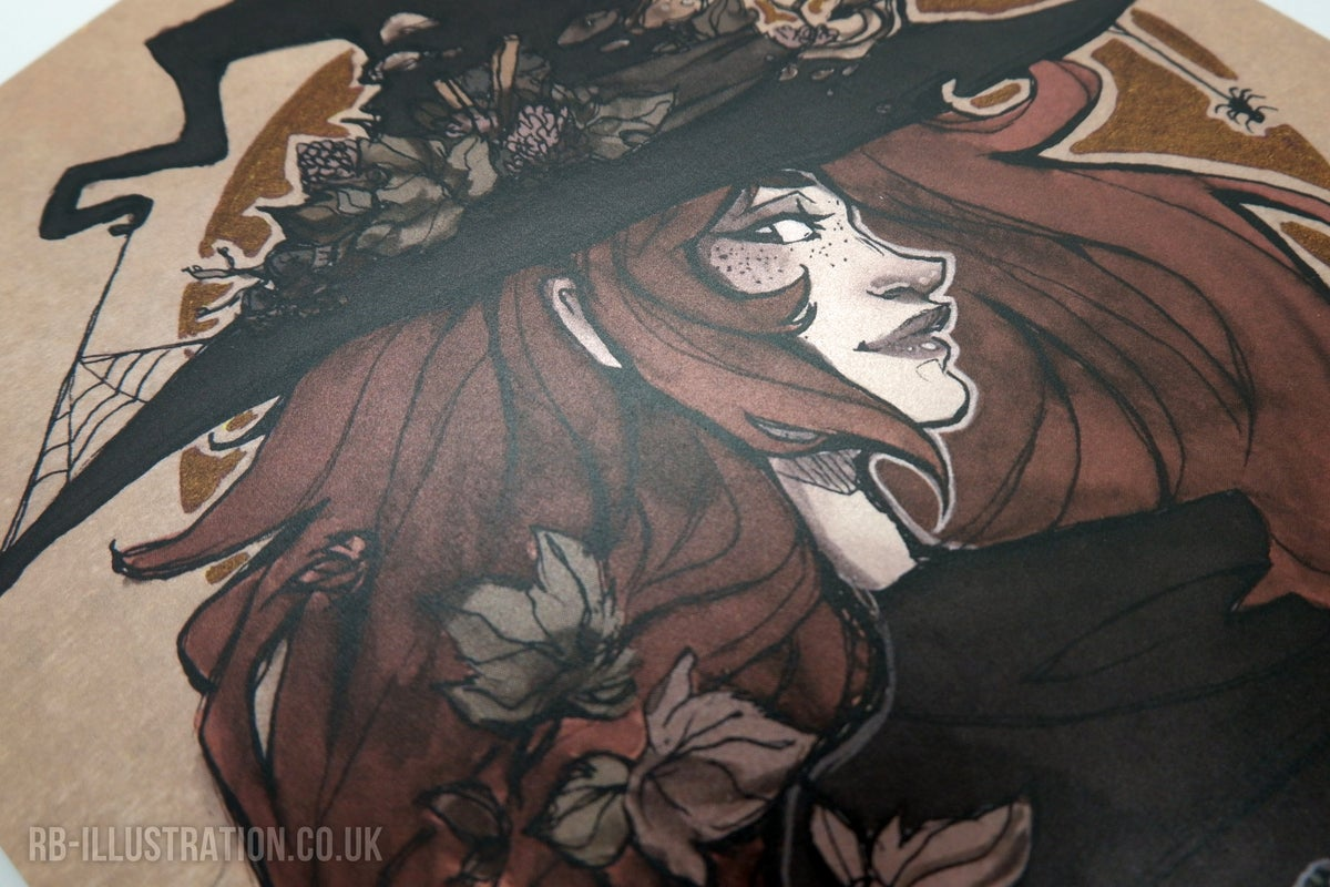 Image of Autumn Witch - A4 Pearlescent Print