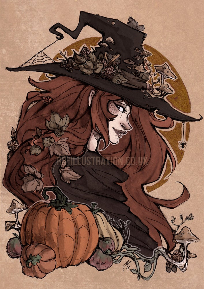 Image of CLEARANCE: Autumn Witch - A4 Pearlescent Print