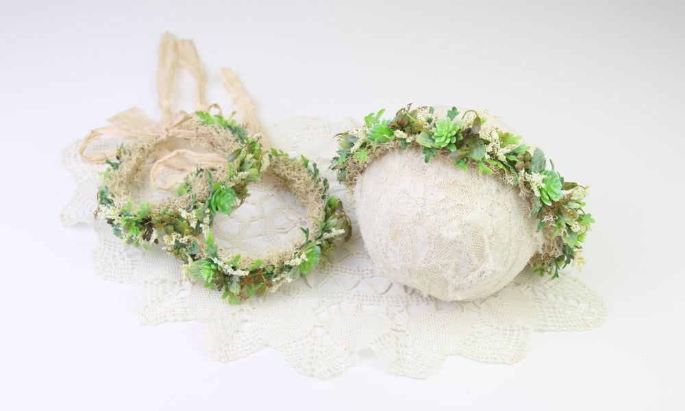Image of Loaded Succulent Halo/Silk Tieback