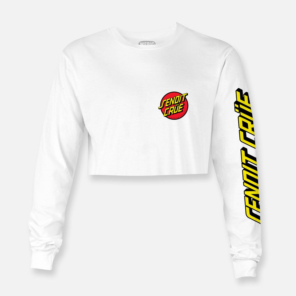 Image of WOMENS CROP SENDIT CRÜE LONG SLEEVE TEE