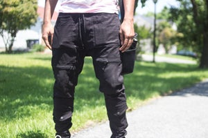 Image of Black 8 Pocket Field Cargo Pants- Tapered fit