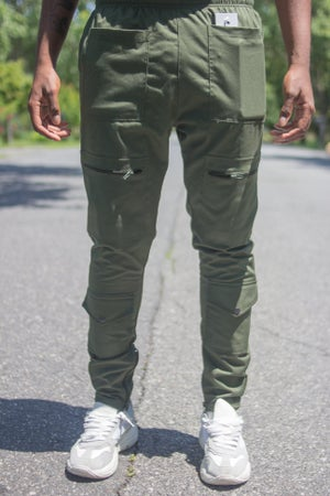 Image of Army Green 8 Pocket Field Cargo Pants- Tapered