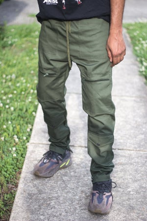 Image of Army Green 8 Pocket Field Cargo Pants- Relaxed