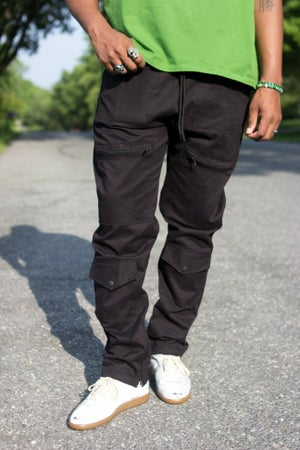 Image of Black 8 Pocket Field Cargo Pants- Relaxed