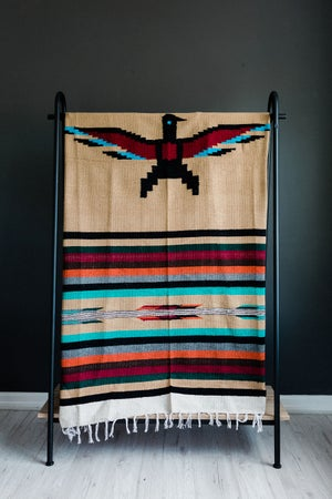 Image of Authentic Mexican Blanket 'Eagles Dare' in COFFEE
