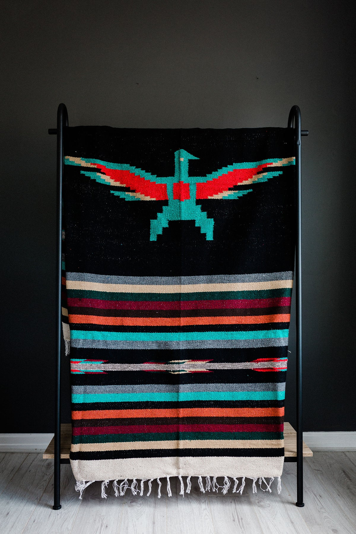 Image of Authentic Mexican Blanket 'Eagles Dare' in BLACK