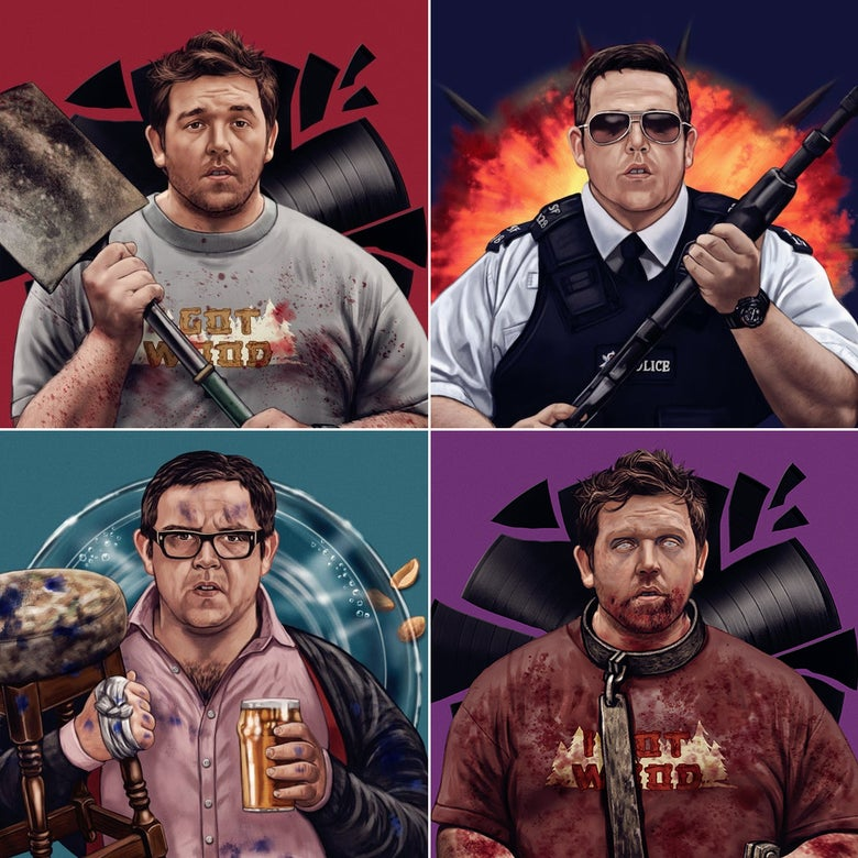 Image of Nick Frost Cornetto Trilogy (officially licensed print set)