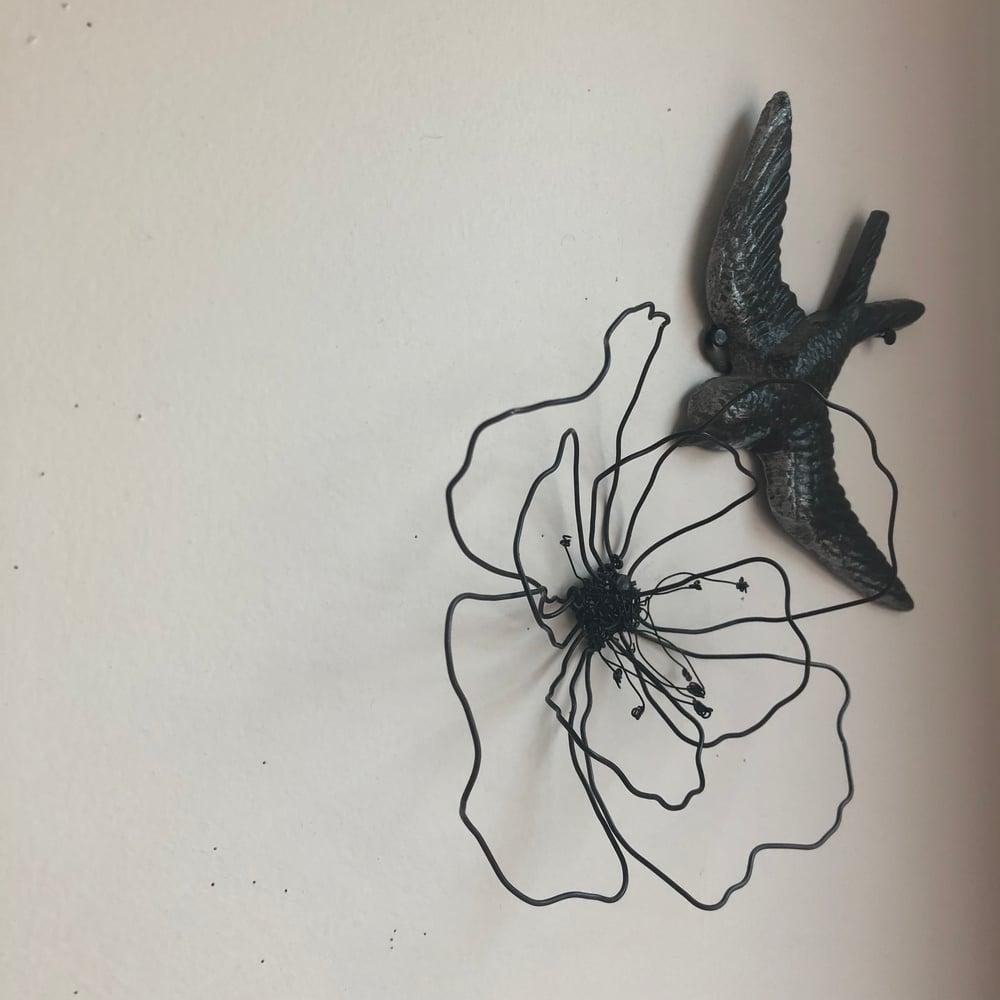 Image of Coquelicot en fil de fer noir