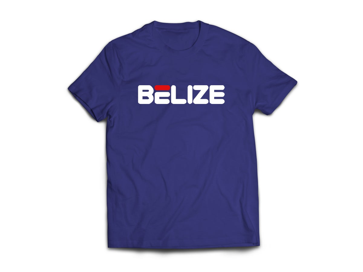 Image of BELIZE T-SHIRT - NAVY BLUE/WHITE (RED) LOGO