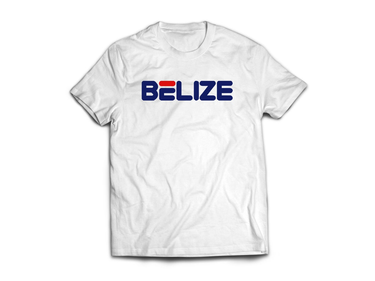 Image of BELIZE - T-SHIRT - WHITE/NAVY BLUE(RED) LOGO