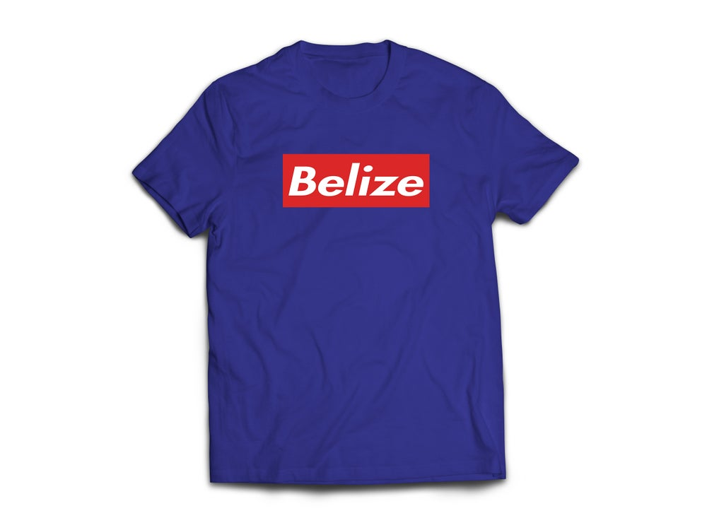 Image of BELIZE - T-SHIRT - NAVY BLUE/WHITE(RED BOX)
