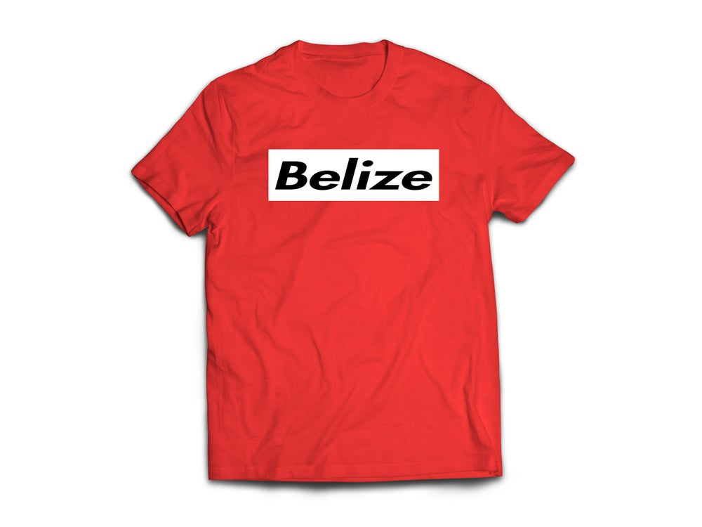 Image of BELIZE T-SHIRT - RED/BLACK(WHITE BOX)