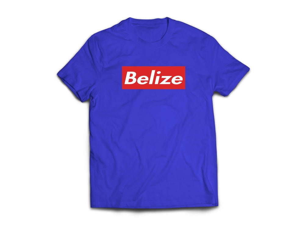 Image of BELIZE T-SHIRT - ROYAL BLUE/WHITE(RED BOX)