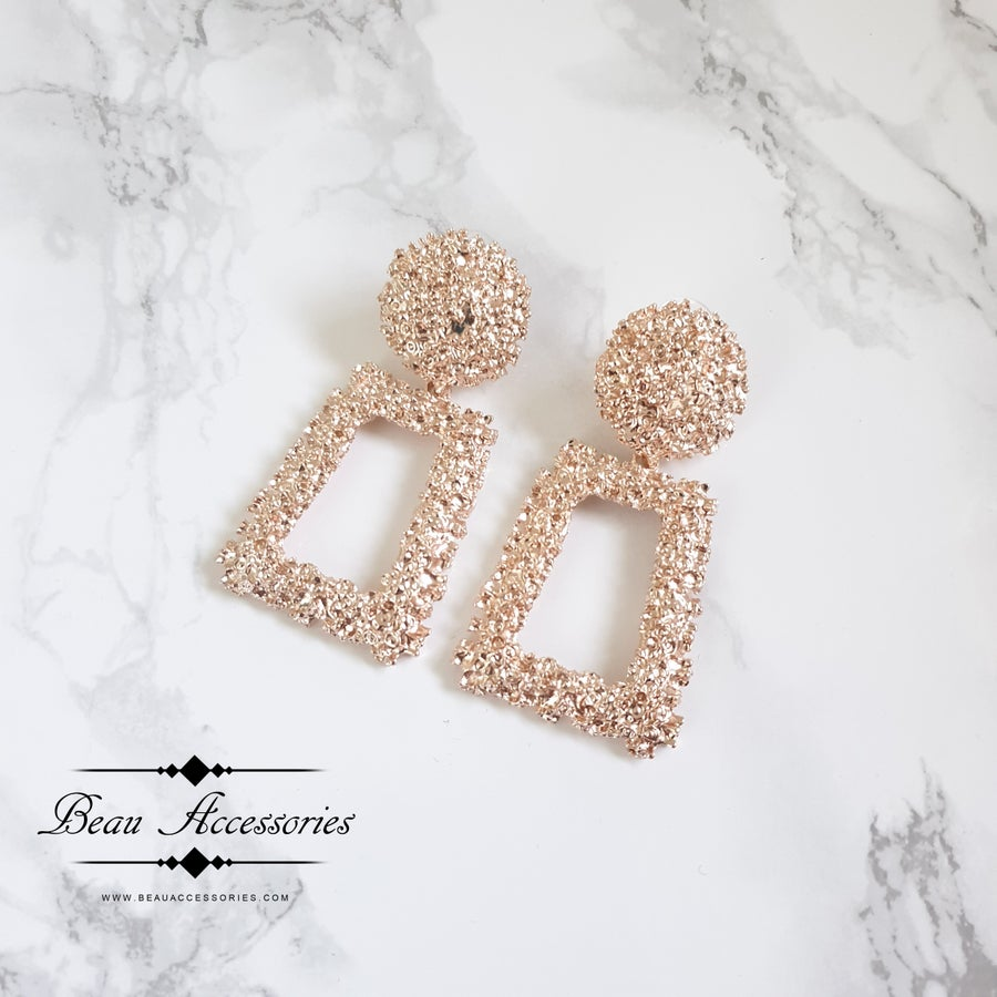Image of Textured Rose Gold Earrings