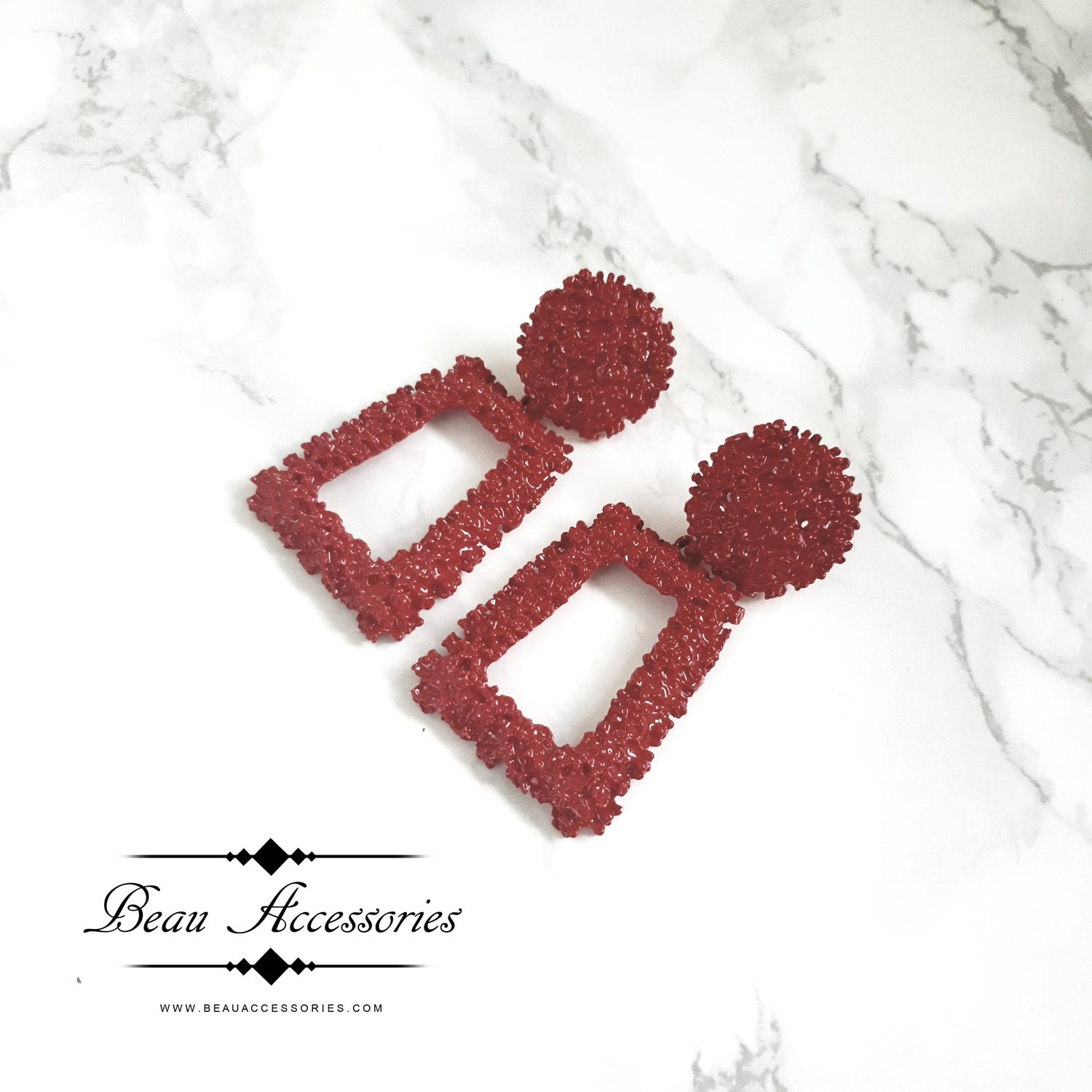 Image of Red Textured Statement Earrings