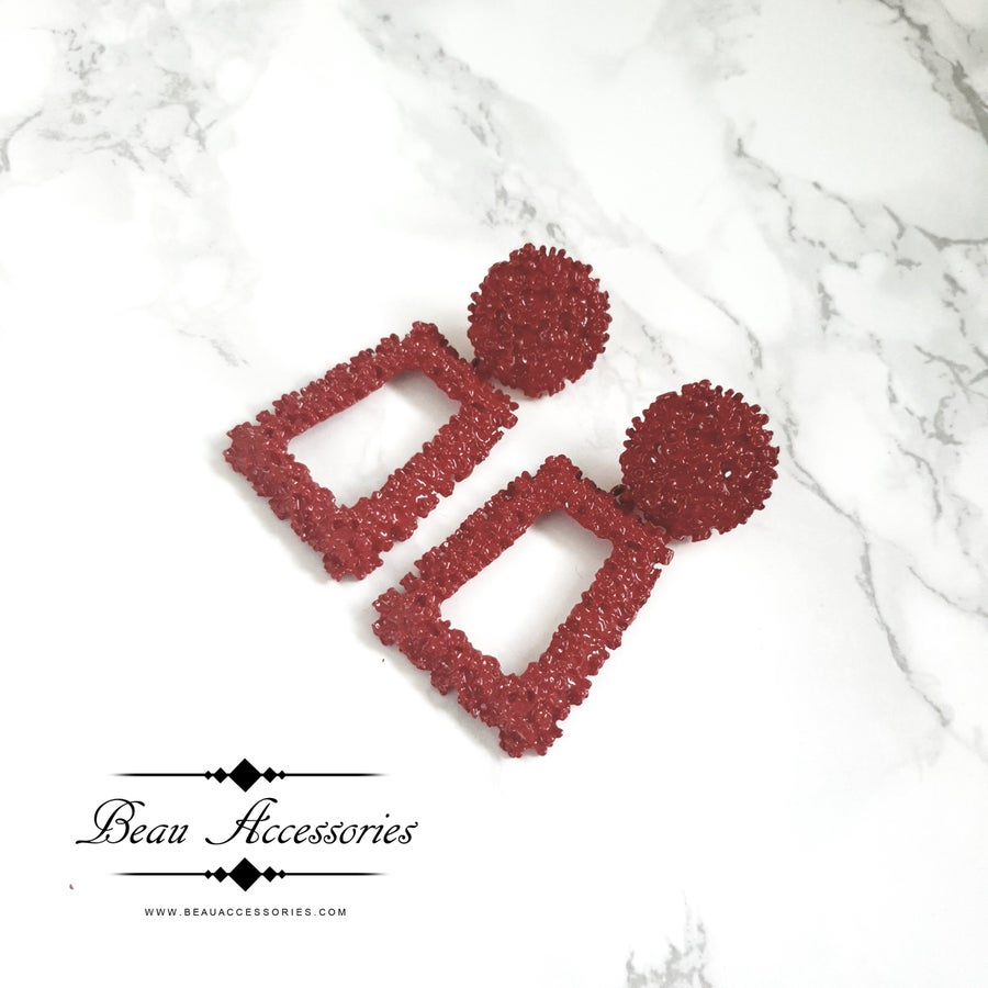 Image of Deep Red Textured Statement Earrings