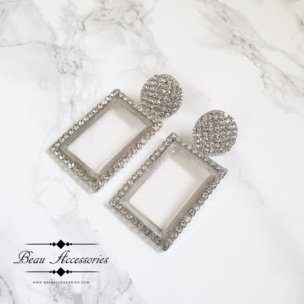 Image of Silver Statement Earrings with Transparent Centres