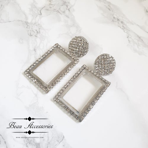 Image of Silver Earrings with Transparent Centres