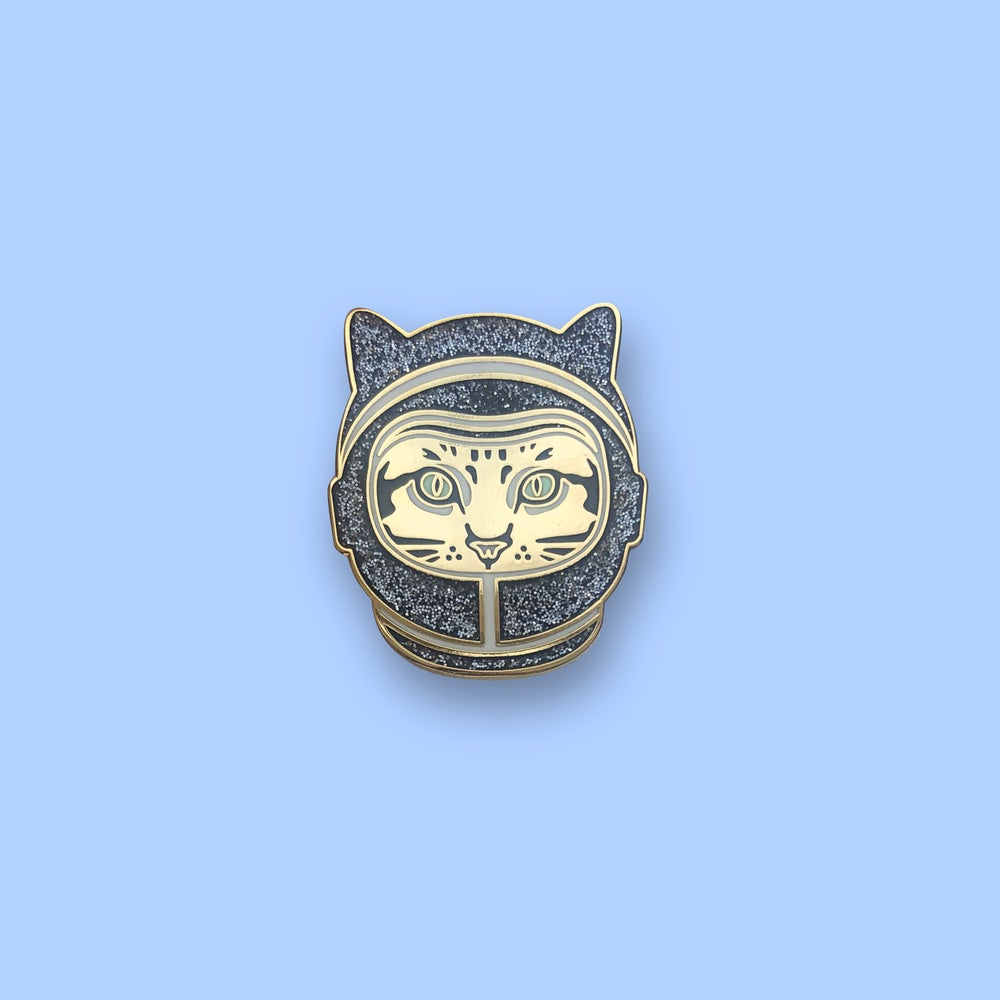 Image of space cat enamel pin (black and gold) - enamel cat pin - astronaut cat - space kitty