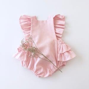 Image of Pink linen flutter romper